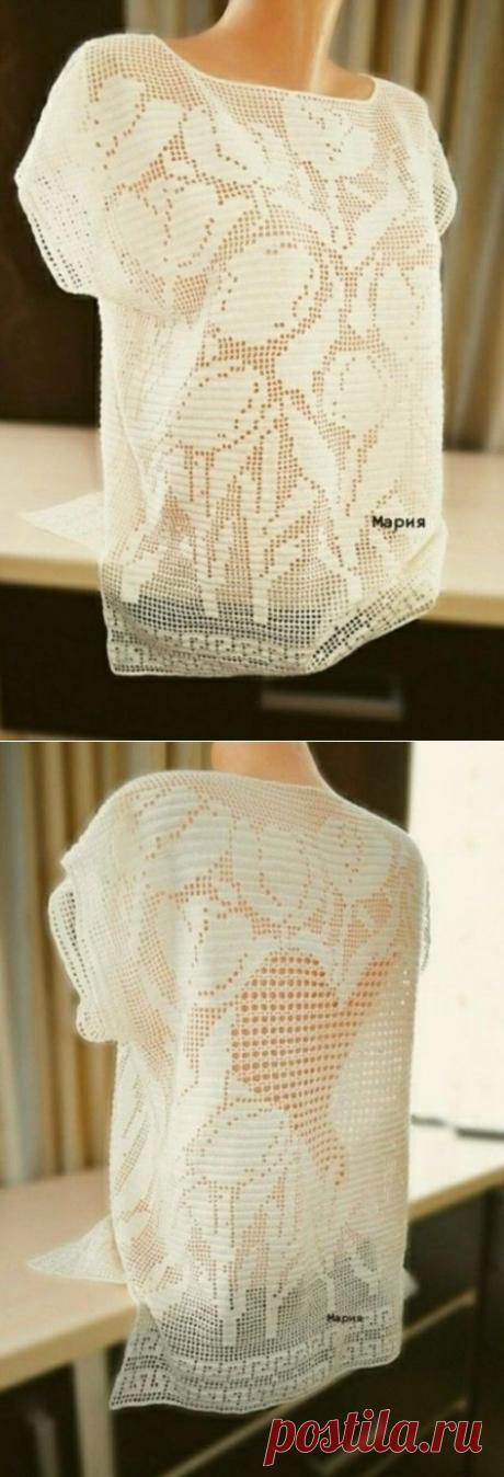 Очаровательная блуза в филейной технике. Крючком. Схемы. / Вязаные идеи, идеи для вязания