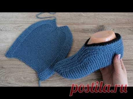 Легкие следки на двух спицах Турецким способом   Easzy slippers knitting pattern in Turkish - YouTube