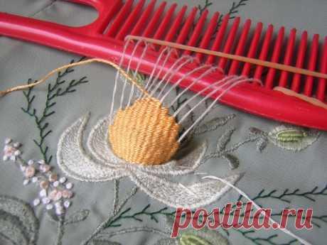 Мастер-класс — вышиваем жатыми лентами и французскими узелками яркий подсолнух