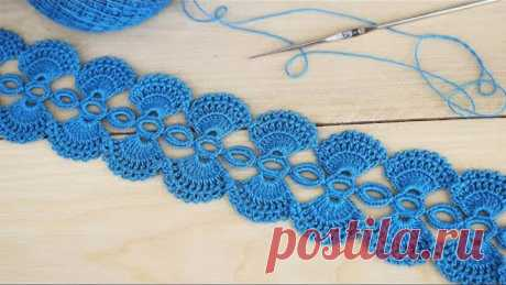 Ажурное ЛЕНТОЧНОЕ КРУЖЕВО вязание крючком мастер-класс How to Crochet Lace Tape Ribbon