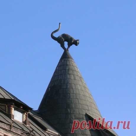 Коты на башнях «кошачьего дома» в Риге.  По легенде, одному богатому торговцу было отказано во вступлении в  Рижскую торговую гильдию. За это он поместил на башни этого дома двух чёрных котов с задранными хвостами и повернул их задом в сторону здания гильдии. Разразился грандиозный скандал, после которого котов развернули противоположную сторону.  Скульптура на заказ в Санкт-Петербурге https://vk.com/sculpture_na_zakaz_spb  #скульптураспб #скульптура #Рига #кот #скульптураназаказ