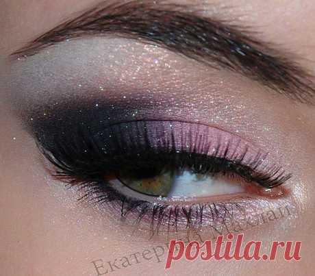 Вечерний макияж в розово-черных оттенках