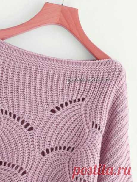 Роскошный пуловер спицами. Схемы узоров