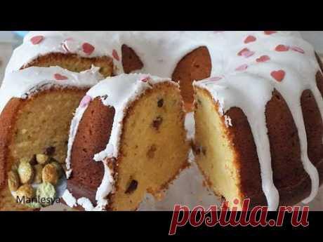 ТВОРОЖНЫЙ КЕКС с изюмом и сахарной глазурью на желатине - YouTube