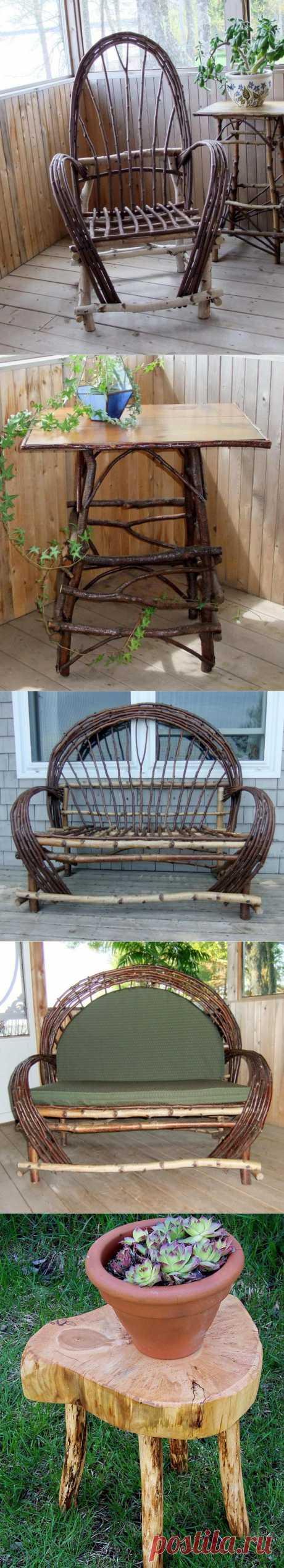 Садовая мебель и предметы декора для дачи из природных материалов.