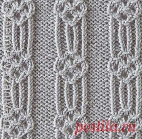 Рельефный японский узор из скрещенных петель - схема вязания спицами