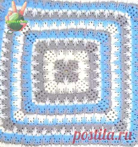 Интересная и простая схема для вязания крючком одеяла или пледа от центра