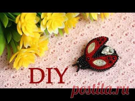 """Божья коровка&quot brooch;. Beadwork and beads. Bead Embroidered Brooch ""Lady Bird"""