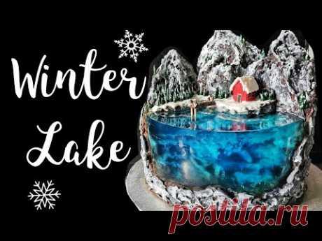 Island Cake - Winter Theme   Christmas Cake 2020   Winter Lake Jello Cake   Gelatin Cake Tutorial