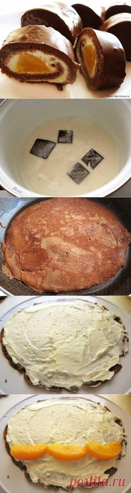 Сладкие блины-роллы с творожно-персиковой начинкой.
