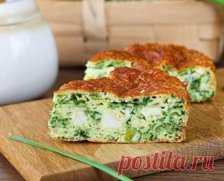 Как приготовить безумно вкусно-нежный пирог с зеленым луком, курицей и сырной корочкой. - рецепт, ингридиенты и фотографии