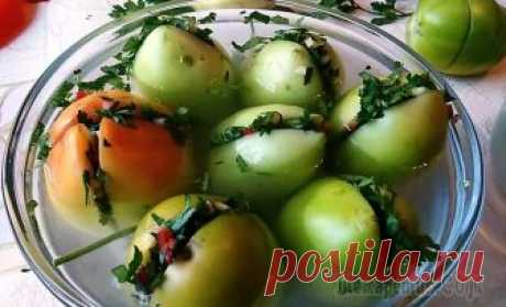 Бесподобные зеленые помидоры по грузински на зиму! Самый вкусный рецепт! Закрываем сезон консервирования. Сейчас в продаже много зеленых помидоров, приготовим их на зиму по грузински. Нафаршируем зеленью и чесноком - это безумно вкусно. Готовятся просто, на раз - два! Гото...