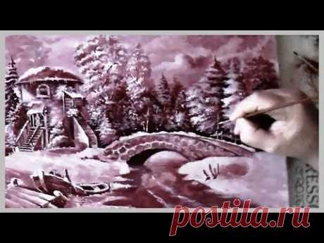 Часть 1. Рисуем фламандский зимний пейзаж акрилом и маслом быстрее. Часть первая. - YouTube
