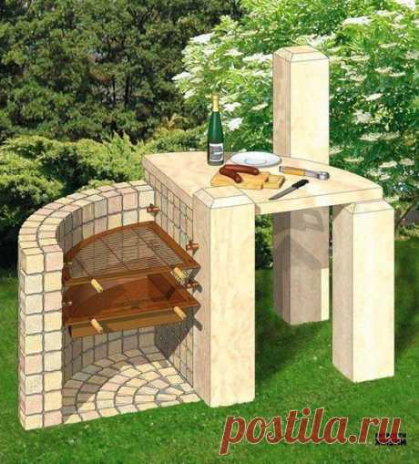 """The project of a garden grill """"Камень to камню"""". Sizes and detailed schemes 
