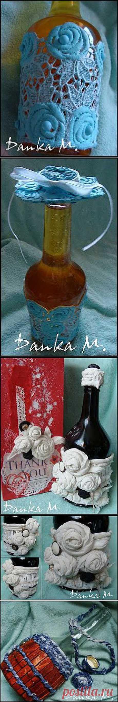 Декорирование бутылок отходами ткани и кружевом.   ШТОРЫ, ЛАМБРЕКЕНЫ, ДОМАШНИЙ ТЕКСТИЛЬ СВОИМИ РУКАМИ