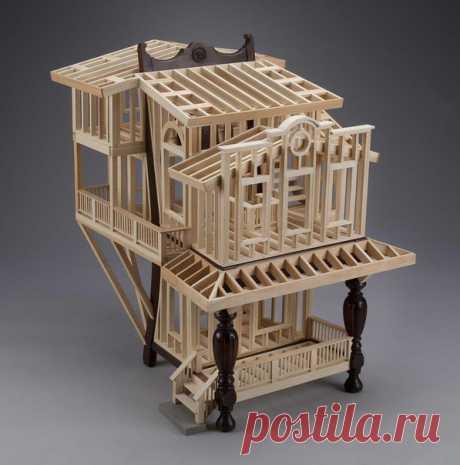 Архитектурные эксперименты Ted Lott. Тед Лотт (Ted Lott) экспериментирует с деревом и создает необычные домики в маленьком масштабе, взяв за основу каркасы старой мебели и чемоданов. В результате получаются очень любопытные экспонаты.