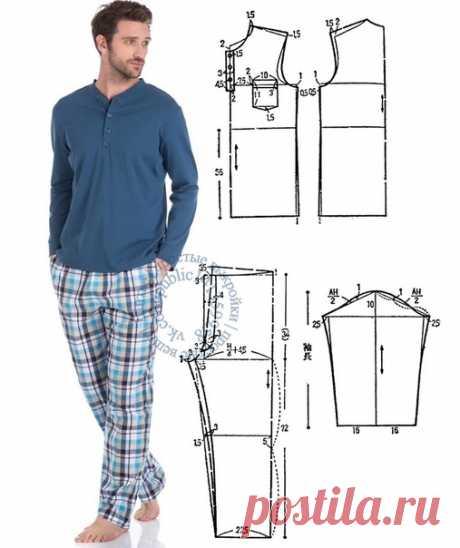 Мужская пижама. Подборка фото Шитье | простые выкройки | простые вещи  #простыевыкройки #простыевещи #шитье #мужскаяпижама #выкройка