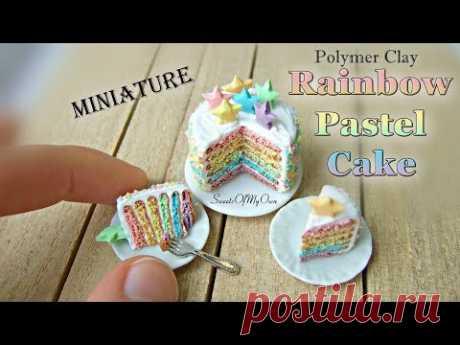 Miniature Polymer Clay Rainbow Pastel Cake - Dollhouse Food
