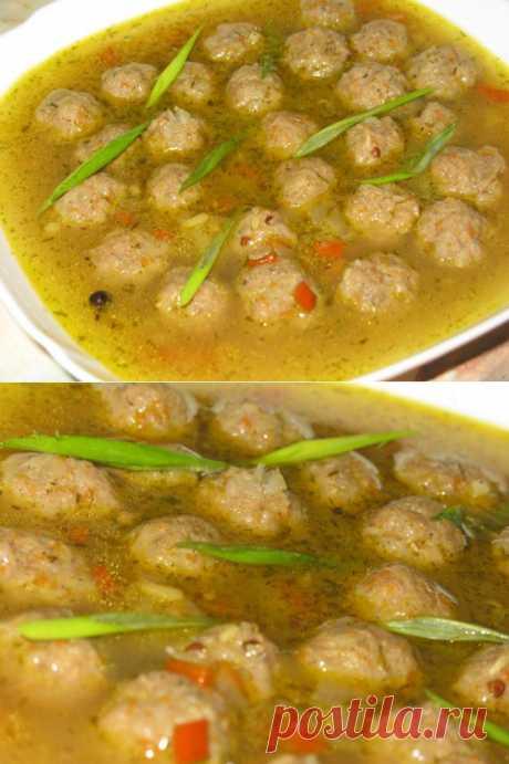Быстрый суп с мясными шариками.