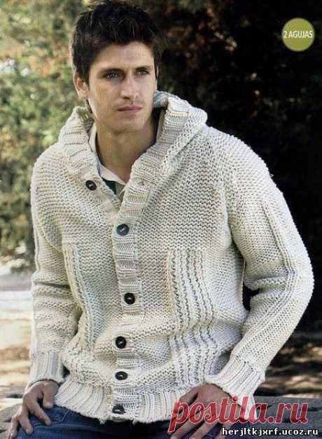 Мужская куртка с капюшоном спицами - пуловера.свитера.джемпера - вязание для мужчин. - Каталог файлов - Дизайн-студия вязаных изделий.