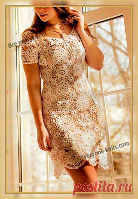 """Летнее платье """"Рассвет"""" крючком из отдельных мотивов. Описание вязания, схемы мотивов.   Все вяжут.сом/Everyone knits.com  """