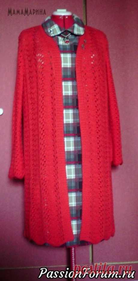 Осеннее вязаное красное пальто - запись пользователя МамаМарина (Марина Юрьевна) в сообществе Вязание спицами в категории Вязание спицами. Работы пользователей