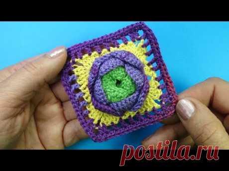 Начинаем вязать – Видео уроки вязания » Эффектный квадрат с цветком – Мотивы вязания крючком