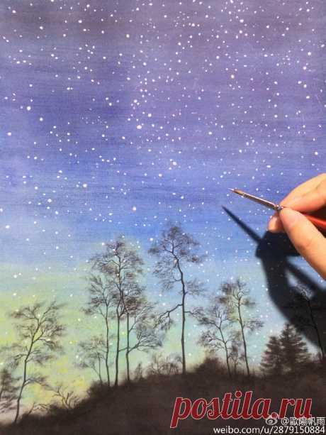 Рисуем ночной пейзаж — DIYIdeas