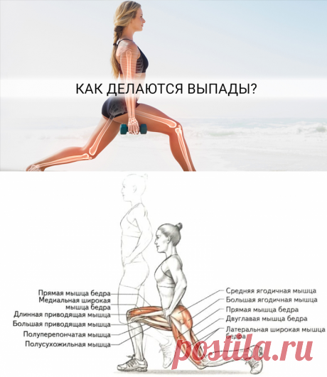 Как правильно делать выпады для упругой попы!  Такие упражнения для ягодиц и бедер как выпады позволяют активизировать работу всех групп мышц бедер и ягодиц.
