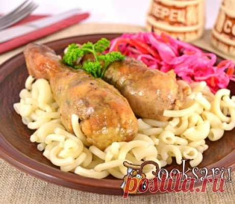 The chicken legs stuffed with photo mushrooms the recipe of preparation