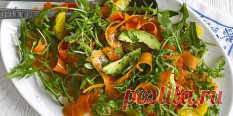 Салат с авокадо, морковью, апельсинами и руколой   |  10 ярких салатов с авокадо для истинных гурманов - Лайфхакер