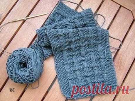 Стильный мужской шарф спицами из категории Интересные идеи – Вязаные идеи, идеи для вязания