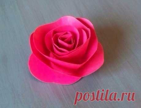 Простая роза из бумаги