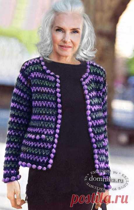 Вязаный жакет Шанель для женщин старше 60 лет - схемы до 52 размера