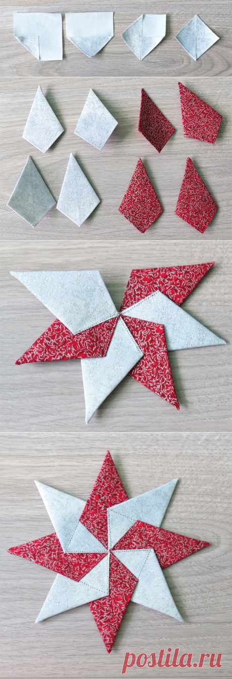 Fabric Star Ornament- tutorial for easy Christmas sewing - Geta's Quilting Studio