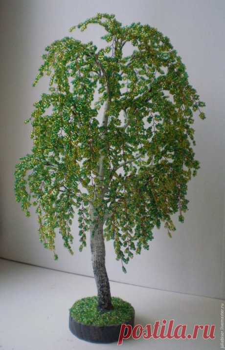 We create a charming birch from beads