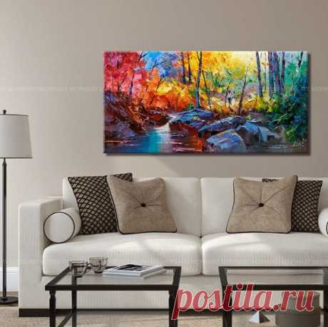 """Abstract Wall Painting, expressionism Textured Painting,Impasto Landscape Painting ,Palette Knife Painting on Canvas by RHB Size: 24""""x48""""x1.2"""" [60x120x3cm] Stretched thickness: 1.2"""" (3cm ) Framed…"""