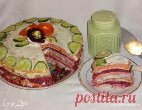 """Закусочный блинный торт «Селедка в пеленках» -интересный вариант подачи салата """"Селедка под шубой""""!"""
