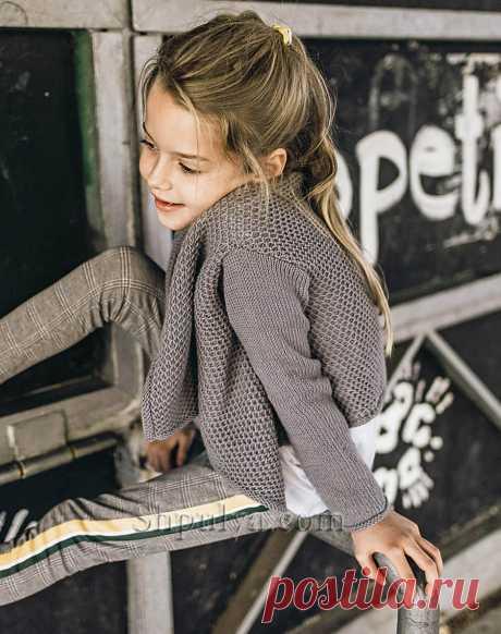 Вязаный жакет с сетчатым узором для девочки — Shpulya.com - схемы с описанием для вязания спицами и крючком