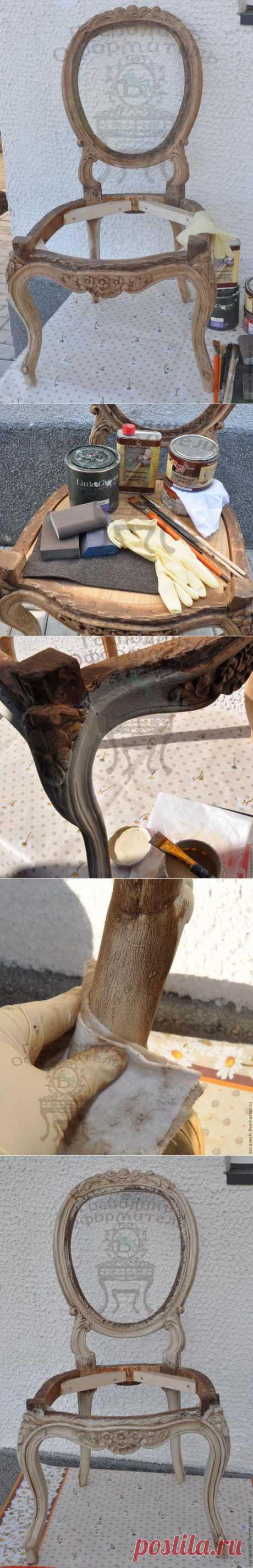 Покраска стула с использованием патины и воска . МК.