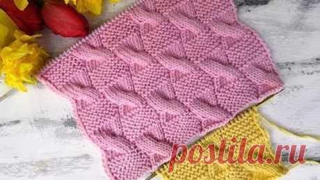 Красивый рельефный узор спицами для вязания пледов, джемперов, кардиганов