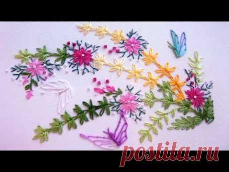 EL BORDADO PARA LOS PRINCIPIANTES \/ EMBROIDERY: Lazy daisy stitch