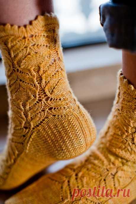Вязание носков спицами, красивые узоры