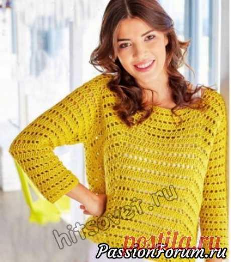 Летний пуловер крючком | Женская одежда крючком. Схемы и описание