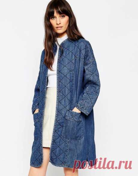 Удлиненная стеганая джинсовая куртка ASOS Premium - Синий | Куртки стеганые женские в 2019г. | Жилет наряды, Джинсовые платья и Джинсовые одеяла