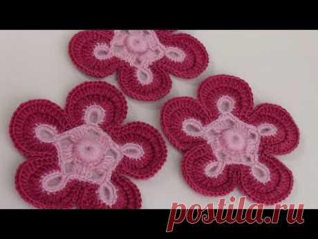Вязание цветка.Урок вязания крючком.Сrochet flower pattern.Knitted flower.