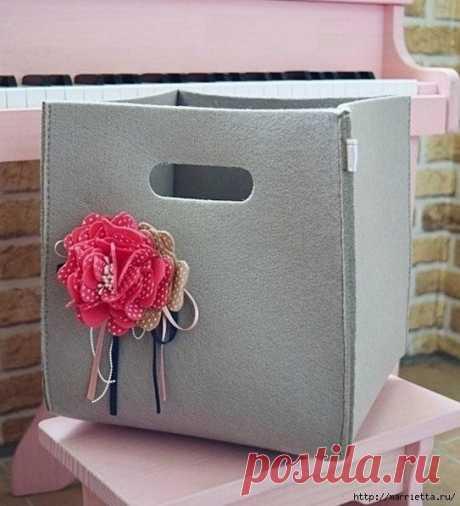 Красивая мягкая корзинка для мелочей — Сделай сам, идеи для творчества - DIY Ideas
