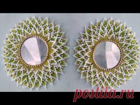 Beautiful Mirror room decor | Wall hanging | Cotton ear buds craft | 158