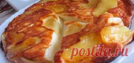 Pie which melts in the mouth. So gentle that it can even be not chewed \u000d\u000aIngredients:\u000d\u000acottage cheese — 250 grams;\u000d\u000aeggs — 2 pieces;\u000d\u000asugar — 3 tablespoons;\u000d\u000asalt — a pinch;\u000d\u000asour cream — 0,5 glasses;\u000d\u000aflour — 3 tablespoons.\u000d\u000aStuffing:\u000d\u000aapples — 2 pieces;\u000d\u000abutter — 2 dining rooms lozhk …