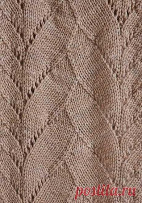"""Хорошие узоры спицами для вязания кардиганов, кофточек, пуловеров - Подружки - медиаплатформа МирТесен Узор Наложенные листья спицами Оригинальный, не избитый и новый узор """"Наложенные друг на друга листья"""", связанный спицами. Такой узор можно комбинировать друг с другом, как это паказано на вязаном снуде, широкие листья, скомбинированы с узкими. Рапорт узора предполагает 12 рядов в высоту...."""